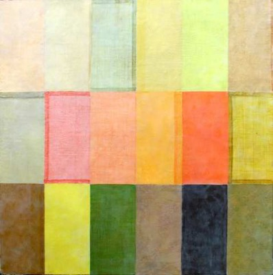 The Common Thread II 36x36 hand-dyed heirloom fabric/encaustic - Lori Keith Robinson