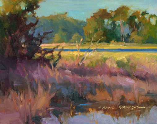 Shadows by the River 11x14 oil on canvas on panel - Lori Keith Robinson