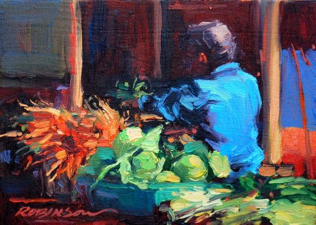 Saturday Morning Farmer's Market 5x7 oil on panel - Lori Keith Robinson