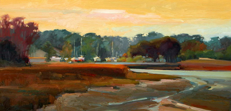 Overlooking Thunderbolt 15x30 oil on board - Lori Keith Robinson