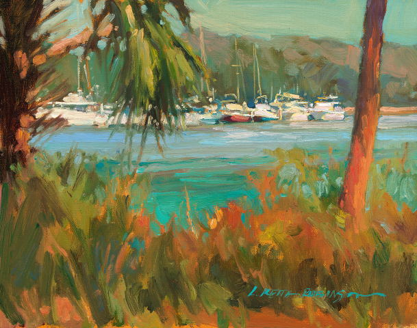 Yacht Club from Lyman Hall 11x14 oil on canvas on panel - Lori Keith Robinson