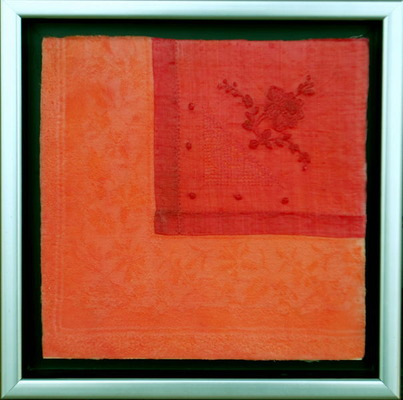 Cloth Napkins Orange Congealed Salad Encaustic/hand-dyed vint. fabric - Lori Keith Robinson